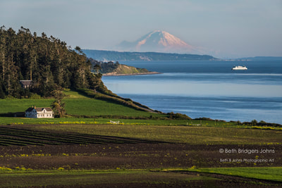 Ebey's Prairie, Mount Rainier and the Ferry House, Beth B Johns Photographic Art