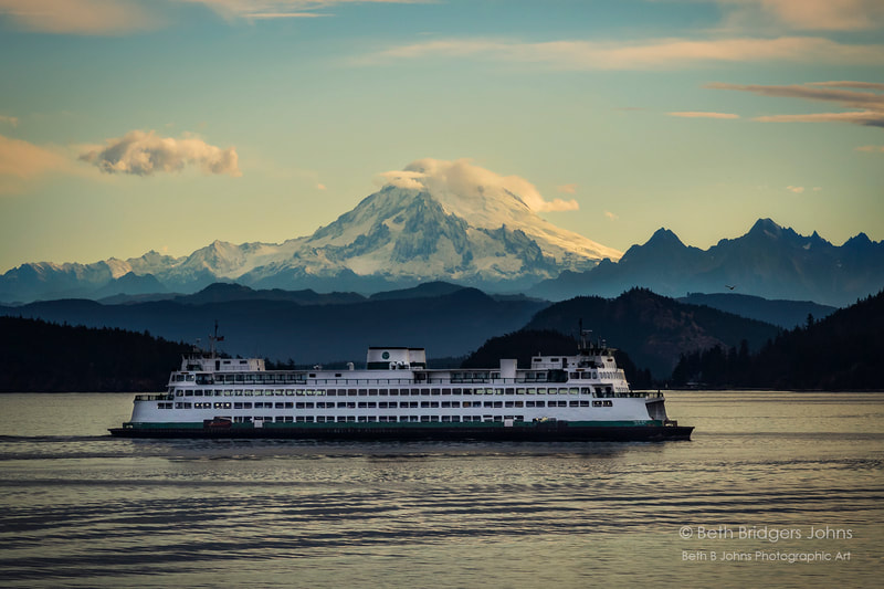 San Juan Ferry, Mount Baker, Beth B Johns Photographic Art