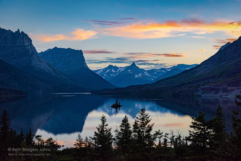 Saint Mary Lake, Wild Goose Island, Little Chief, Citadel and Fusillade Mountains, Glacier National Park, Beth B Johns Photographic Art